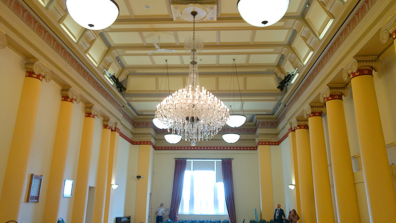 Chandelier and view of the Assembly Room