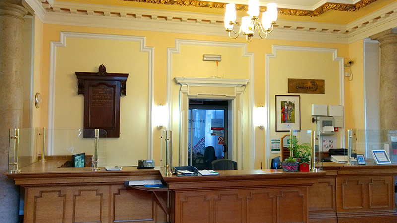 Reception area at Municipal Buildings, Crewe