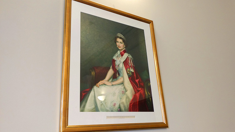 Queens portrait in the Silk Room Macclesfield
